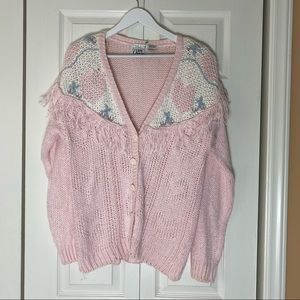 Vintage In Charge Hand Knitted Fringe Cardigan